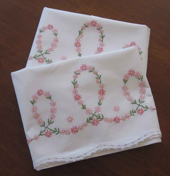Items Similar To Pair Dainty Embroidered Pillowcases With Crocheted Edge On Etsy