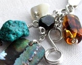 Eco Cluster Pendant - Rare Beads and Sterling Silver