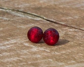 Recycled 1940's Ruby Beer Bottle Post Earring/Red Stud Earrings/Upcycled/Recycled Repurposed/Vintage 1940s/Red Earrings/Recycled Vintage
