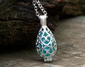 Recycled Mason Jar Filigree Teardrop Necklace/Repurposed Mason Jar/Antique Glass Jewelry/Bridesmaid Gift/Gift for Her/Aquamarine/Mom Gift