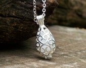 Recycled/Reclaimed Vintage  Pond's Cold Cream Jar Silver Filigree Teardrop Necklace