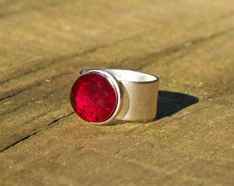Recycled 1940's Ruby Beer Bottle Ring