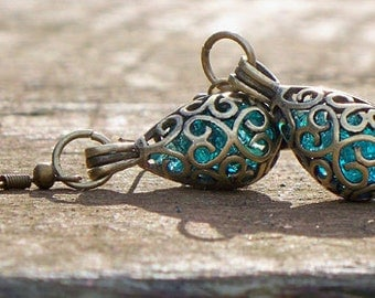 Recycled Mason Jar Brass Filigree Teardrop Earrings/blue mason jar/upcycled recycled repurposed/eco friendly jewelry/mom gifts/unique