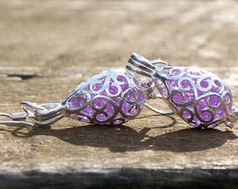 Recycled Amethyst Bottle Silver Filigree Teardrop Earrings/Lavender/Repurposed Jewelry/Gifts for Mom/Earrings/Upcycled Recycled Repurposed