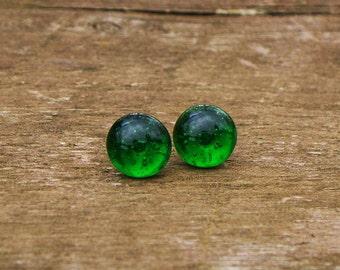 Vintage Emerald Beer Bottle Simple Post Earring/Stud Earrings/Green/Emerald/Vintage/Gift for Her/Glass Bottles/Jewelry/Upcycled/Repurposed