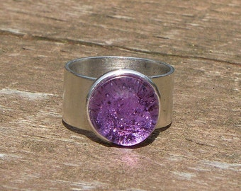 Recycled Vintage Amethyst Glass Ring/Upcycled/Repurposed/Lavender/Adjustable Ring/Statement Jewelry/Gift for Her/Recycled Glass Jewelry