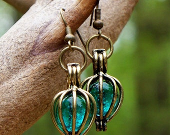 Recycled Antique Mason Jar Brass Drop Earrings