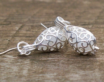 Recycled Pond's Cold Cream Bottle Silver Filigree Teardrop  Earrings
