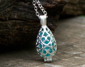 Recycled Mason Jar Filigree Teardrop Necklace/Repurposed Mason Jar/Antique Glass Jewelry/Bridesmaid Gift/Gift for Her/Aquamarine/Mom Gift