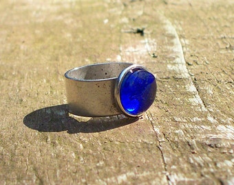 Recycled Noxzema Bottle Ring/Adjustable Ring/Upcycled/Cobalt Blue Glass/Handmade/Gifts for Her/Old Bottles/Vintage/Repurposed Jewelry/Blue