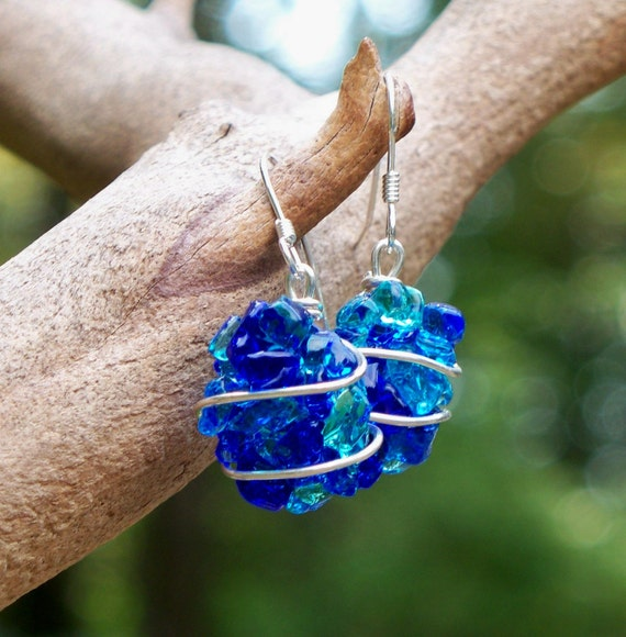 Mixed Blues, Recycled Antique Bottles Fused Nugget Earrings