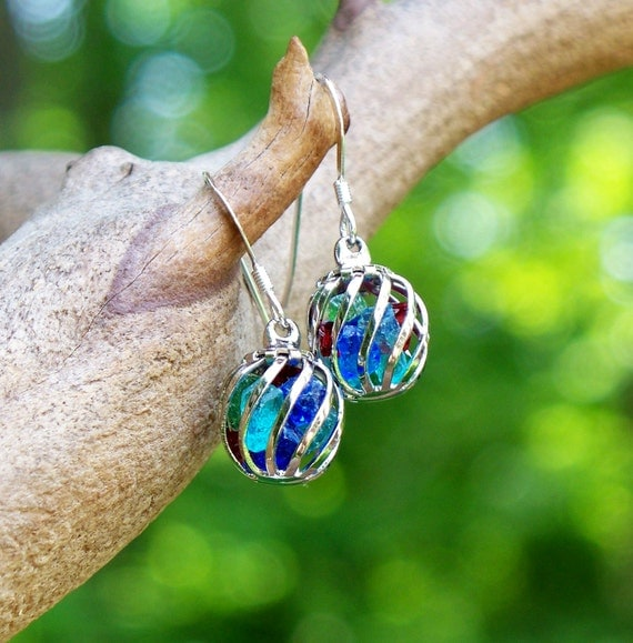 Recycled Antique Bottle Multi Colored Glass Cage Earrings