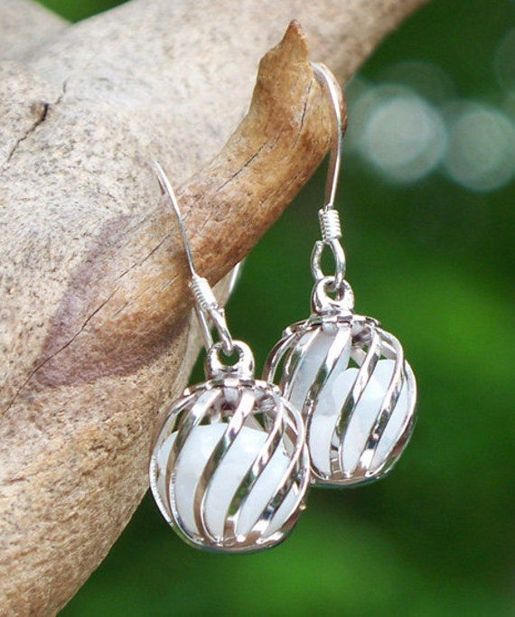 Reclaimed Vintage White Pond's Cold Cream Jar Cage Earrings