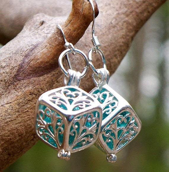 Recycled Vintage Mason Jar Silver Filigree Box Earrings