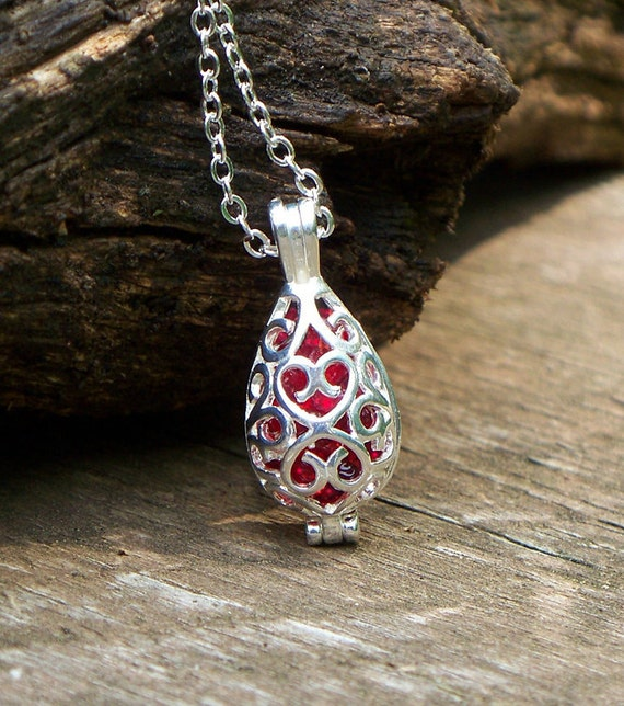 Reclaimed/Recycled 1940's Ruby Beer Bottle Silver Filigree Teardrop Necklace