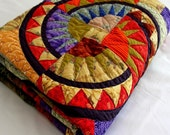 NEW YORK BEAUTY style Quilt EASTERN PASSAGE  in bold color 59 x 70