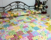 Queen size bed Quilt with in pink, blue, green, yellow  SUMMER SUNSHINE