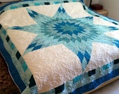 """Queen Star Bed Quilt in shades of blue, turquoise, aqua and white 95"""" x 95"""""""