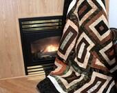 BATIK Lap Quilt in Neutral Colors UNDER 250 Dollars
