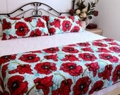 POPPIES ON AQUA king size Bed Quilt Set