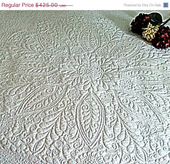 """Spring Madness Sale Heirloom White Wholecloth Bed Quilt Welsh Beauty 80""""x100"""""""