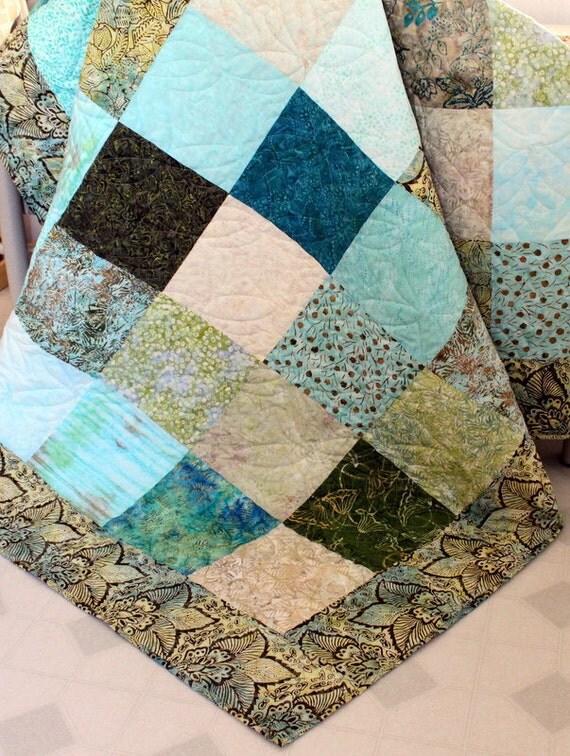 Batik lap Quilt  After the Rain Batik  in blue, teal, green, tan