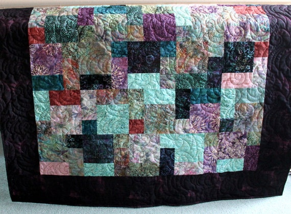 "Batik Lap Quilt in Rosehip and Jasmine 56"" x 76"""