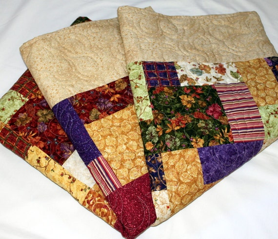 Reserved Patchwork Lap Quilt  throw blanket in Fall Colors ON SALE