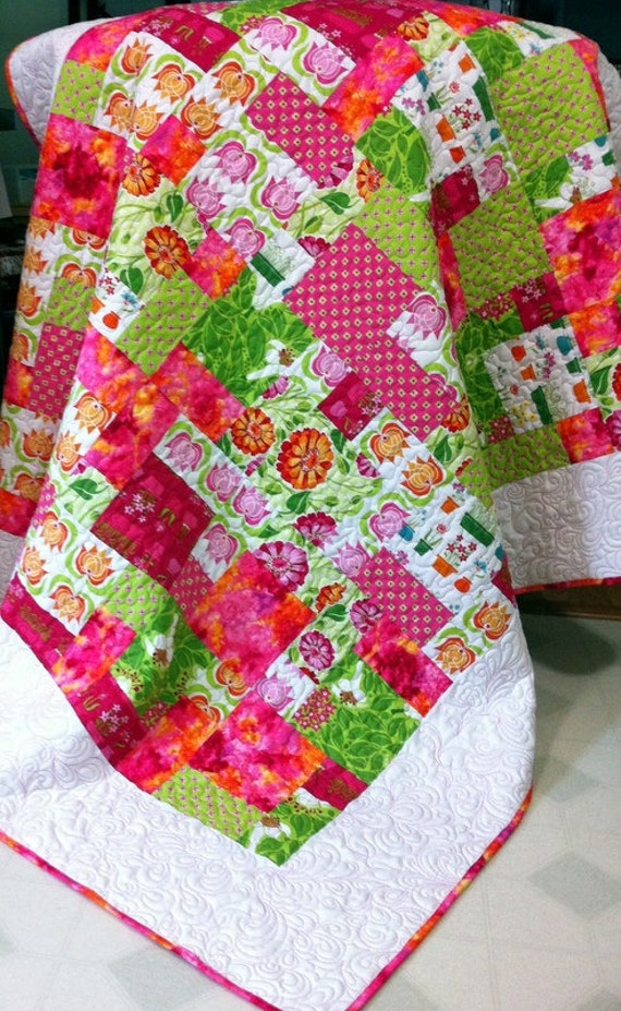 """Patchwork  Lap Quilt in pink, lime and white SUMMER SUNSHINE 56"""" x 66"""""""