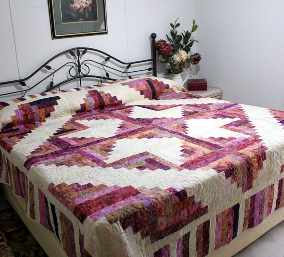 Log Cabin Queen King Bed Quilt CHERRY BLOSSOM