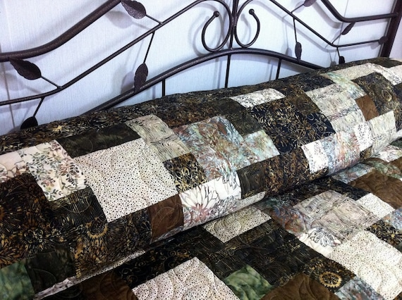 ICE TEA queen bed Quilt in Coffee and Creme masculine