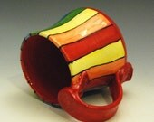 Handmade Ceramic Rainbow Striped Mug With Red Made to Order