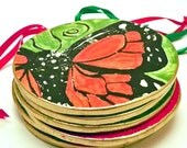 Ornament Monarch Butterfly Handmade Ceramic with Gold Trim Made to Order