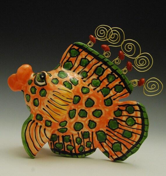 Handmade ceramic fish sculpture for Ceramic fish sculpture