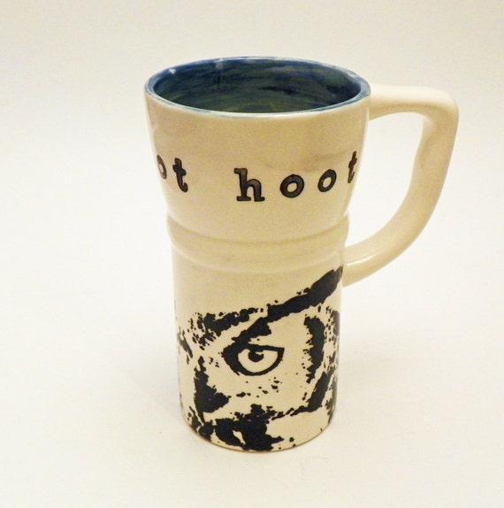 Travel Mug with Lid Eco Friendly Owls Hoot 19 Ounces