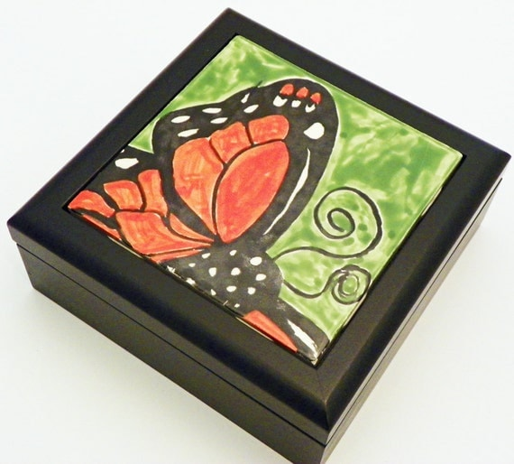 Wooden Trinket Box with Glazed Ceramic Monarch Butterfly Tile Ready to Ship