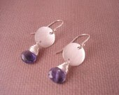 Brushed Silver and Iolite Earrings