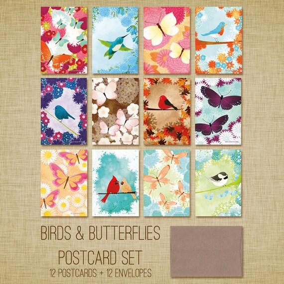 LAST CHANCE SALE Birds & Butterflies Postcard Set - Birds and Butterflies Flat Note Cards Set of 12 - Art Postcards