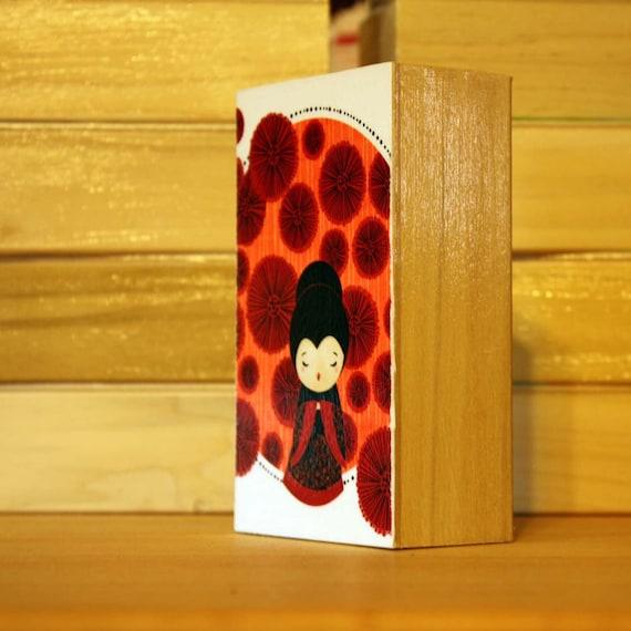 SALE mounted mini print - poppy kokeshi