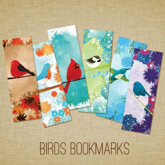 Bird Bookmarks - Set of 6 - Scarlet Tanager, Eastern Bluebird, Cardinal, Chickadee, Hummingbird, Indigo Bunting