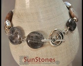 Bamboo Leaf Agate, Black Sunstone and Sterling Silver