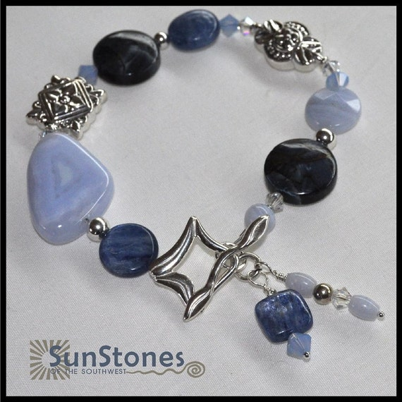 Chalcedony, Pietersite, Kyanite, Blue Lace Agate and Sterling Silver