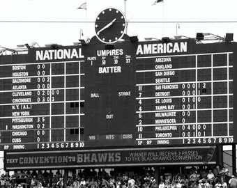 Chicago Cubs Wrigley Fields Scoreboard, 5x7, black and white fine art print, a piece of history, great photo for sports fanatics