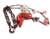 Porcelain Koi Fish Cherry Quartz Necklace