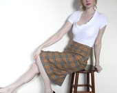 Vintage Mustard Yellow and Blue Plaid School Girl Skirt