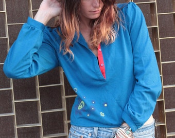 Blue Hippie Top, Vintage Shirt with Screen Printing