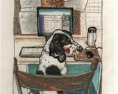 Funny Blogging Cute Basset hound at computer postcard