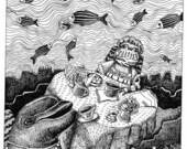 Whimsical Underwater Tea Party blank notecard