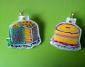 Whimsical Fairy Cake Earrings freshly baked