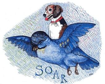 Beagle Flying Inspirational Soar Print